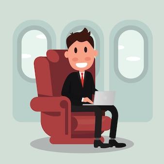 Zakenman op vliegtuig