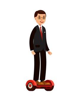 Zakenman op zelfbalancerende scooter