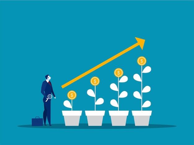 Zakenman op zoek naar aandelenmarkt groeit investeringsconcept
