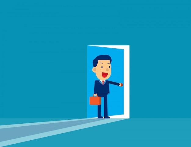 Zakenman opening deur.