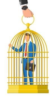 Zakenman opgesloten in de kooi van vogels. zakenman man in gouden kooi. opgesloten voelen op het werk. concept van rijk zijn maar niet vrij en overwerk. platte vectorillustratie