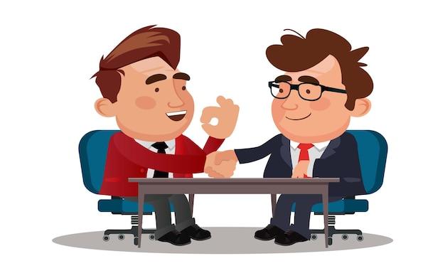 Zakenman partners handen schudden na ondertekening contractovereenkomst