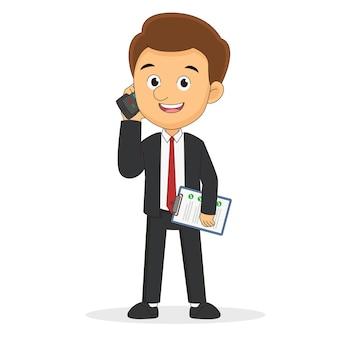 Zakenman permanent en praten via de telefoon