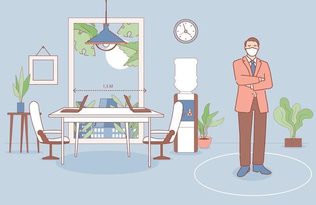 Zakenman permanent in zijn kantoor cartoon overzicht illustratie. man die werkplekken op veilige afstand organiseert.