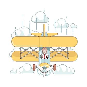 Zakenman piloot vliegen vliegtuig met dubbeldekker vliegtuig