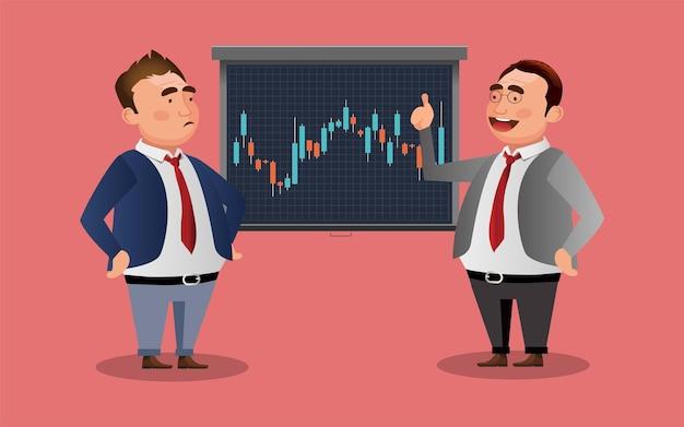 Zakenman praten over aandelenmarkt