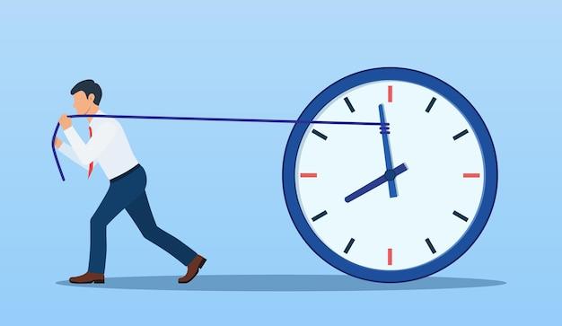 Zakenman probeert de tijd te vertragen en te stoppen