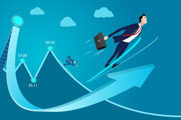 Zakenman, professionele groei, ervaring, succes, inkomen