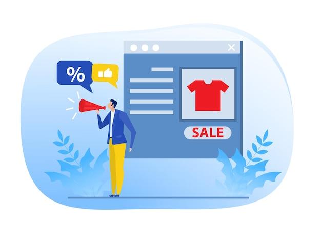Zakenman promotie web concept.digital marketing marketeer kortingen concept, vector illustrator.