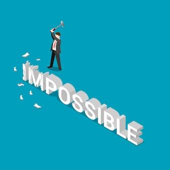 Zakenman remmend woord onmogelijk. plat isometrische macht potentiële concurrentievoordeel bedrijfsconcept
