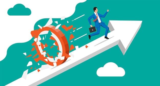 Zakenman rennen en breken doel. zakenman in pak met werkmap. doelstelling. slim doel. doel bedrijfsconcept. prestatie en succes. vectorillustratie in vlakke stijl