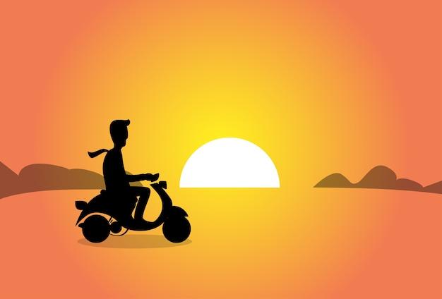 Zakenman rijden elektrische scooter zonsondergang achtergrond