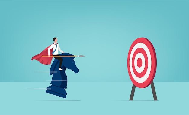 Zakenman rijden schaakpaard gericht op concept. business concept illustratie