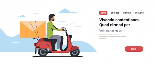 Zakenman rijden scooter met envelop e-mail bericht papier brief communicatie
