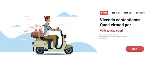 Zakenman rijden scooter met zakelijke kantoor papieren documenten vak bestanden map