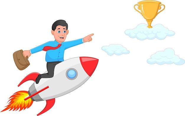 Zakenman rijdt op een raket om snel succes te behalen