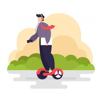 Zakenman rit balanceren scooter
