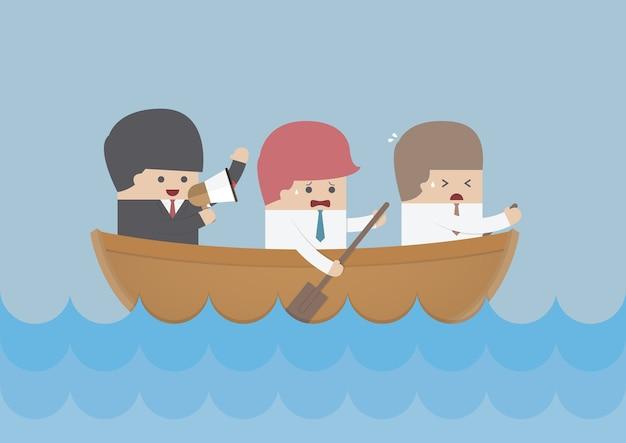 Zakenman roeiteam, teamwerk en leiderschap concept
