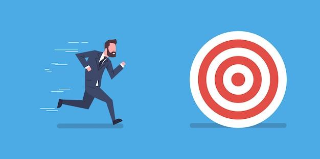 Zakenman running to target business doel leiding en concurrentie concept