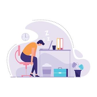 Zakenman sleeping bij zijn kantoorillustratie