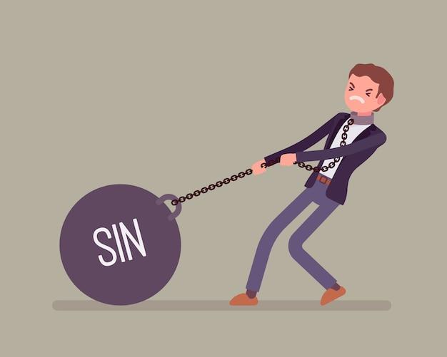 Zakenman slepen een gewicht zonde op ketting