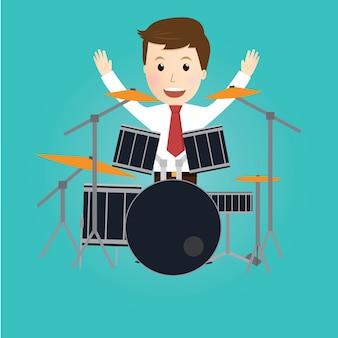 Zakenman spelen drumstel