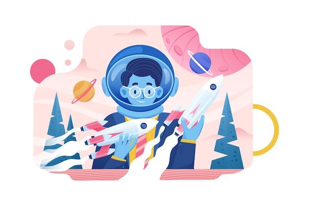 Zakenman spelen ruimte raket lancering vector illustratie concept