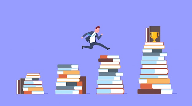 Zakenman springen over stapels boeken naar gouden beker succesvolle zakenman winnaar