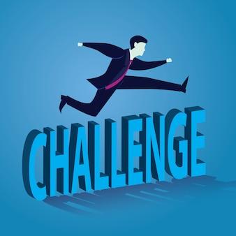 Zakenman springen over uitdaging