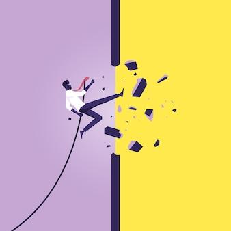 Zakenman springt door de muur te breken om een nieuwe manier te openen, werknemer overwint obstakel