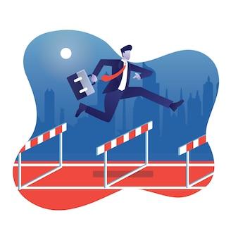 Zakenman springt hoog op obstakelveld in de race van het bedrijfsleven