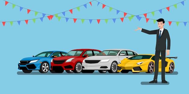 Zakenman staande en huidige voertuigen voor verkopen of huren