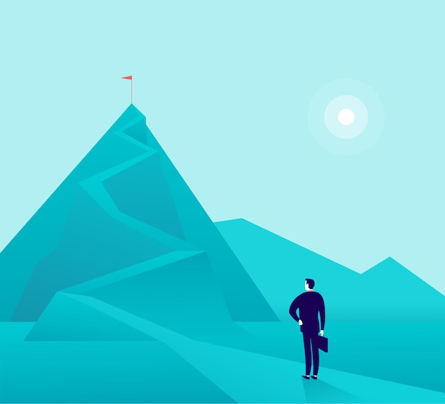 Zakenman staande op de bergtop en kijken naar de top. nieuwe doelen en doelen, doelen, prestaties en ambities