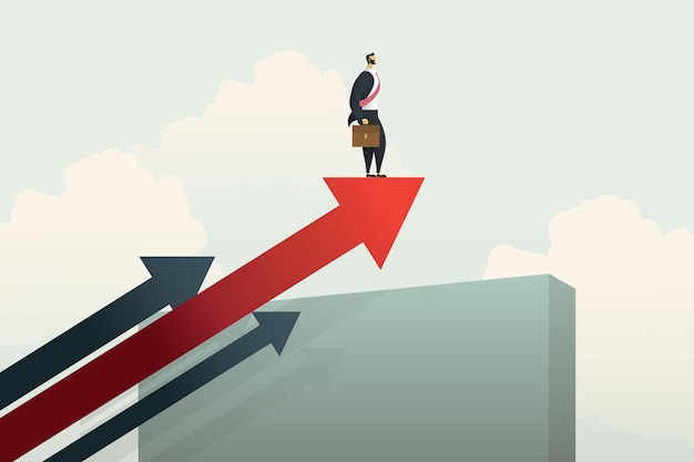 Zakenman staande op pijl over muur naar groeiend succes en uitdagingen