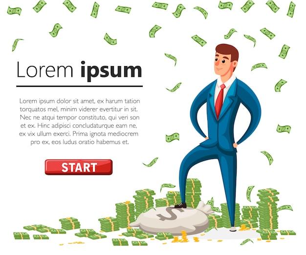 Zakenman staat op een stapel geld. vallende geld. groene dollarbankbiljetten. illustratie met groene knop. accumulatie van geld concept. website-pagina en mobiele app