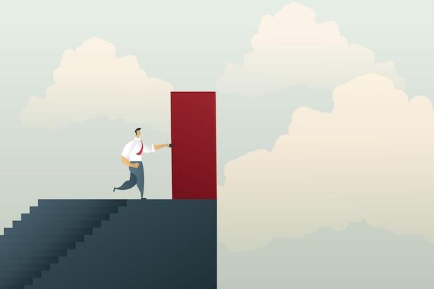 Zakenman staat op het punt de rode deur te openen en bereikt de top van de trapkans