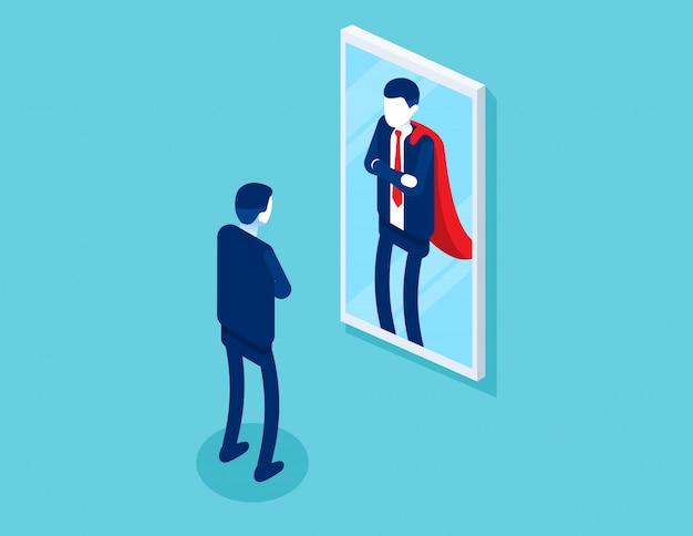 Zakenman staat voor een spiegel wordt weerspiegeld als een superman