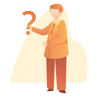 Zakenman stand holding question mark illustration