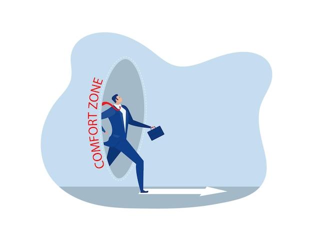 Zakenman stap uit comfort cirkel voor nieuw succes. comfort zone concept vector illustrator