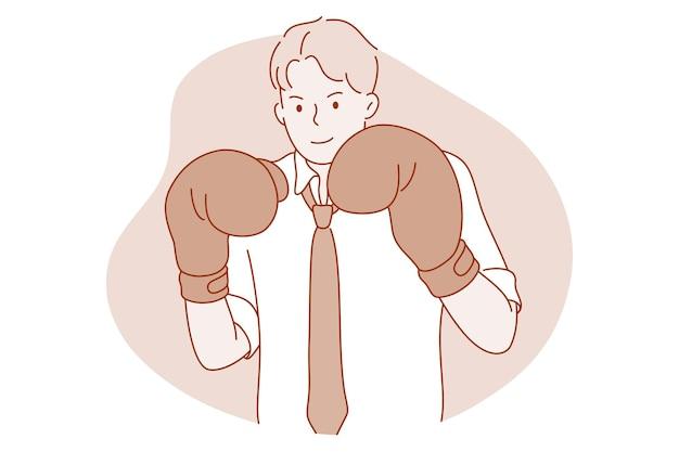 Zakenman stripfiguur in bokshandschoenen gevoel klaar om te vechten