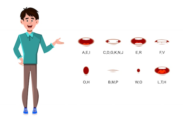 Zakenman stripfiguur met verschillende lipsynchronisatie voor ontwerp
