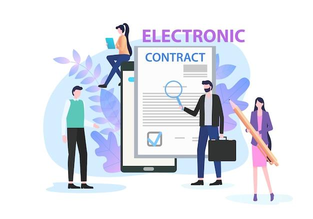 Zakenman studie elektronisch contract met vergrootglas