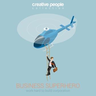 Zakenman superheld op helikopter concept platte 3d web
