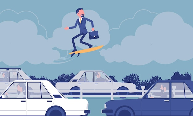 Zakenman surfen op speed board over verkeersopstopping. creatieve avontuurlijke mannelijke manager neemt risico's, ondernemer probeert nieuwe zakelijke methoden, ideeën, wordt high.