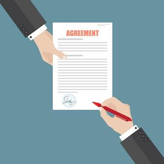 Zakenman teken overeenkomst papieren document