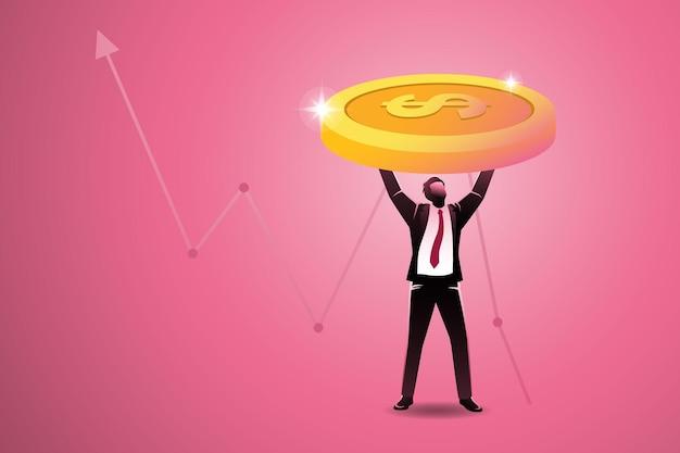 Zakenman til grote gouden munten op de achtergrond van de stijgingspijl