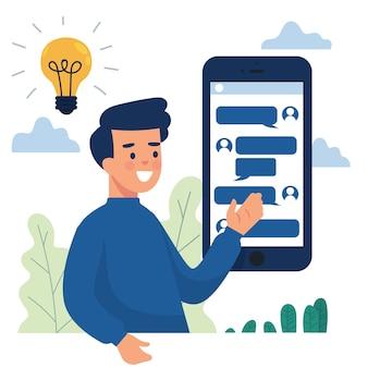 Zakenman toont telefoon met online chat met andere mensen