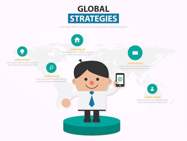 Zakenman toont zijn telefoon voor wereldwijde strategieën
