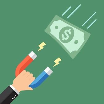 Zakenman trekt geld dollarbiljet aan met een grote magneet. in platte ontwerpstijl