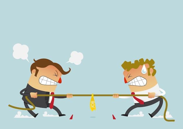 Zakenman twee die in de touwtrekwedstrijdconcurrentie vechten